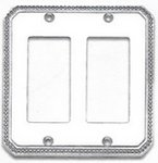 Omnia 8005/D Double GFI Switch Plate with Beaded Edge