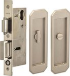 Omnia 7039/L Privacy Pocket Door Lock with Traditional Trim featuring Turnpiece and Emergency Release product