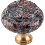 """Top Knobs M128 Dakota Mahogany Granite 1 3/8"""" With Brass Base  from the Chateau Collection"""