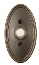 Emtek 2402 Brass Doorbell Button with Oval Rosette