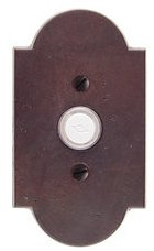 Emtek 2421 Sandcast Bronze Doorbell Button with #1 Rosette