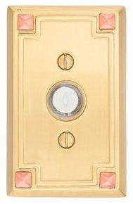 Emtek 2451 Brass Doorbell Button with Arts and Crafts Rosette
