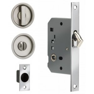 omnia 3910s solid brass sliding door lock round